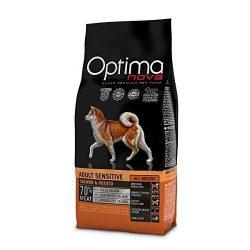Visán Optimanova Dog Adult Sensitive Salmon&Potato kutyatáp 12 kg Hústartalom : 70százalék , csirke mentes